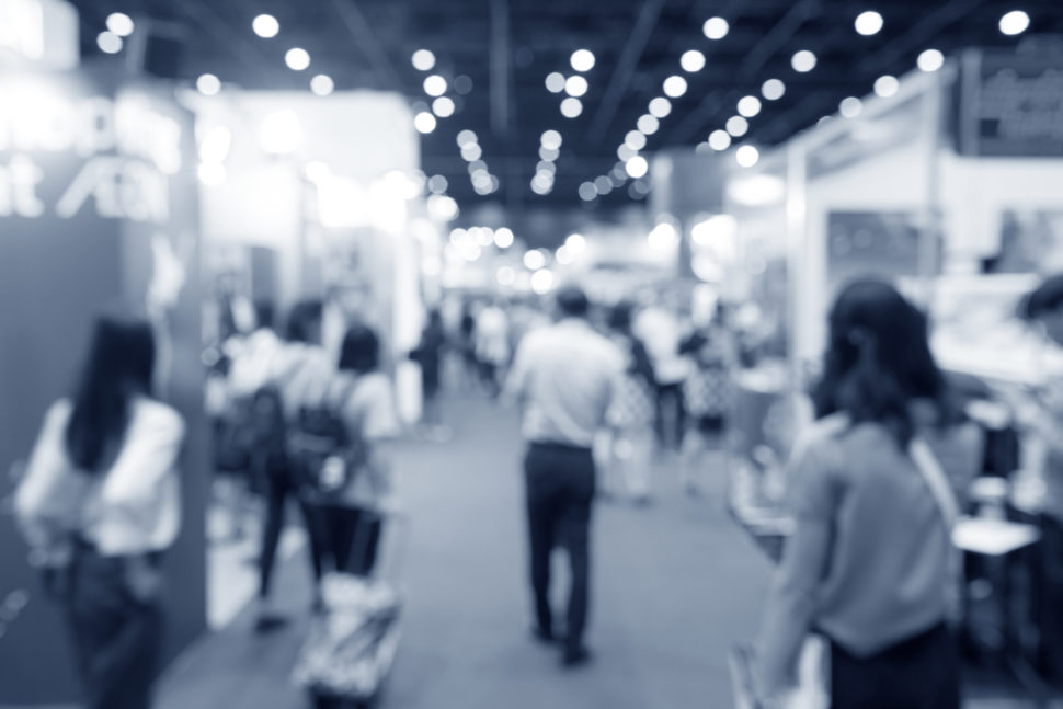 Abstract Blurred Event Exhibition With People Background, Business Convention Show Concept